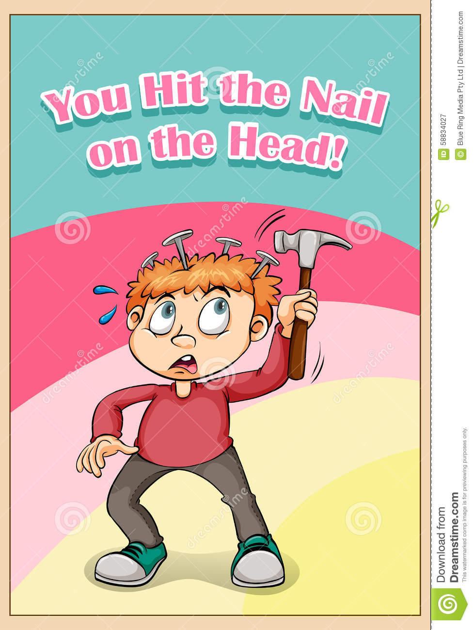 You Hit The Nail On The Head Stock Vector Illustration Of Hurt Saying 58834027