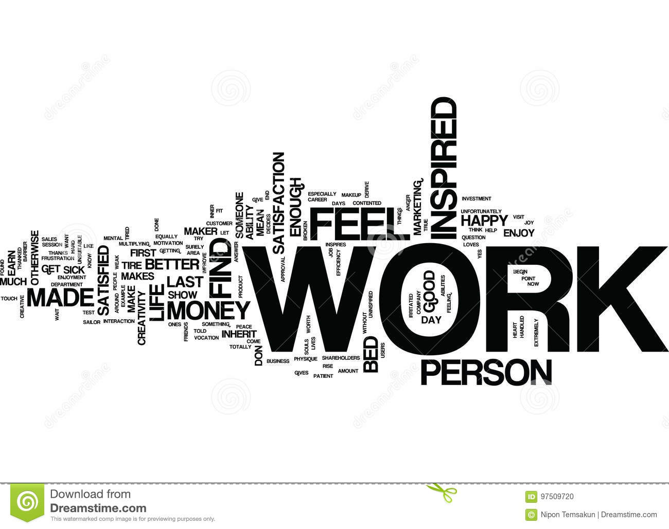 are you inspired in your work word cloud concept stock photo image