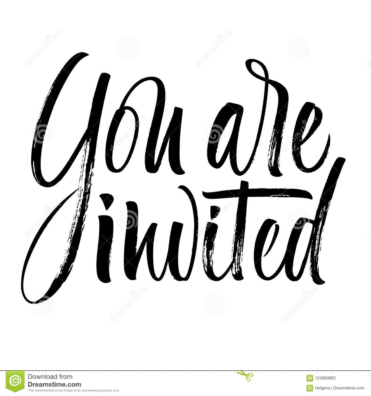 You Are Invited Lettering Stock Vector. Illustration Of