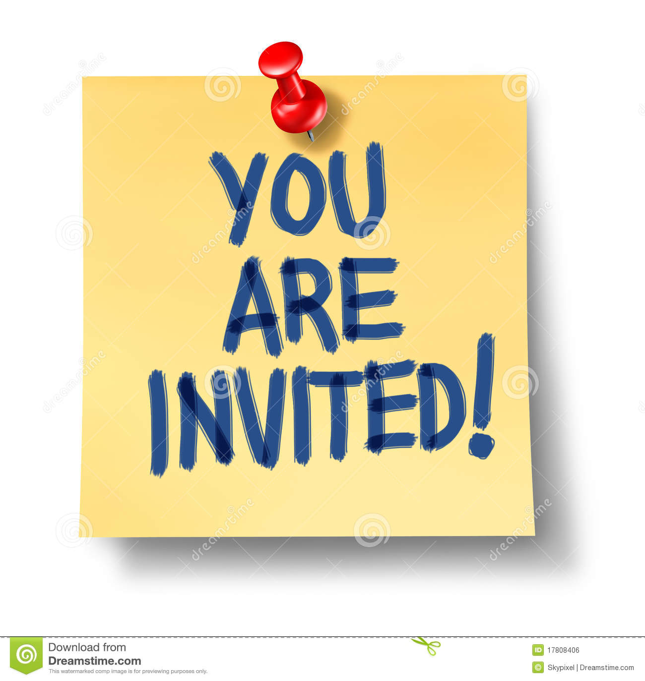 You Are Invited Office Note Yellow Paper Royalty Free