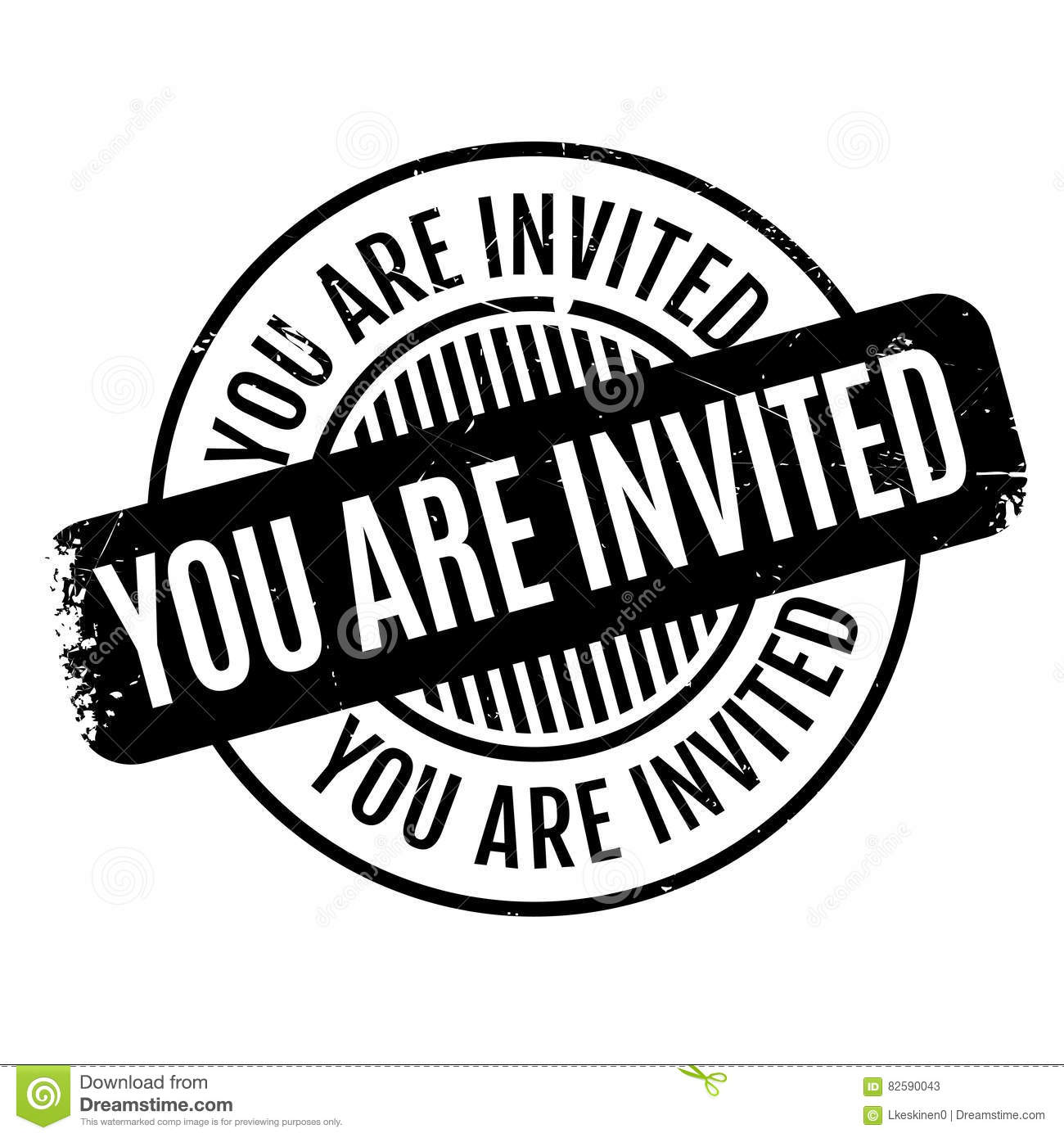 You Are Invited Rubber Stamp Stock Vector