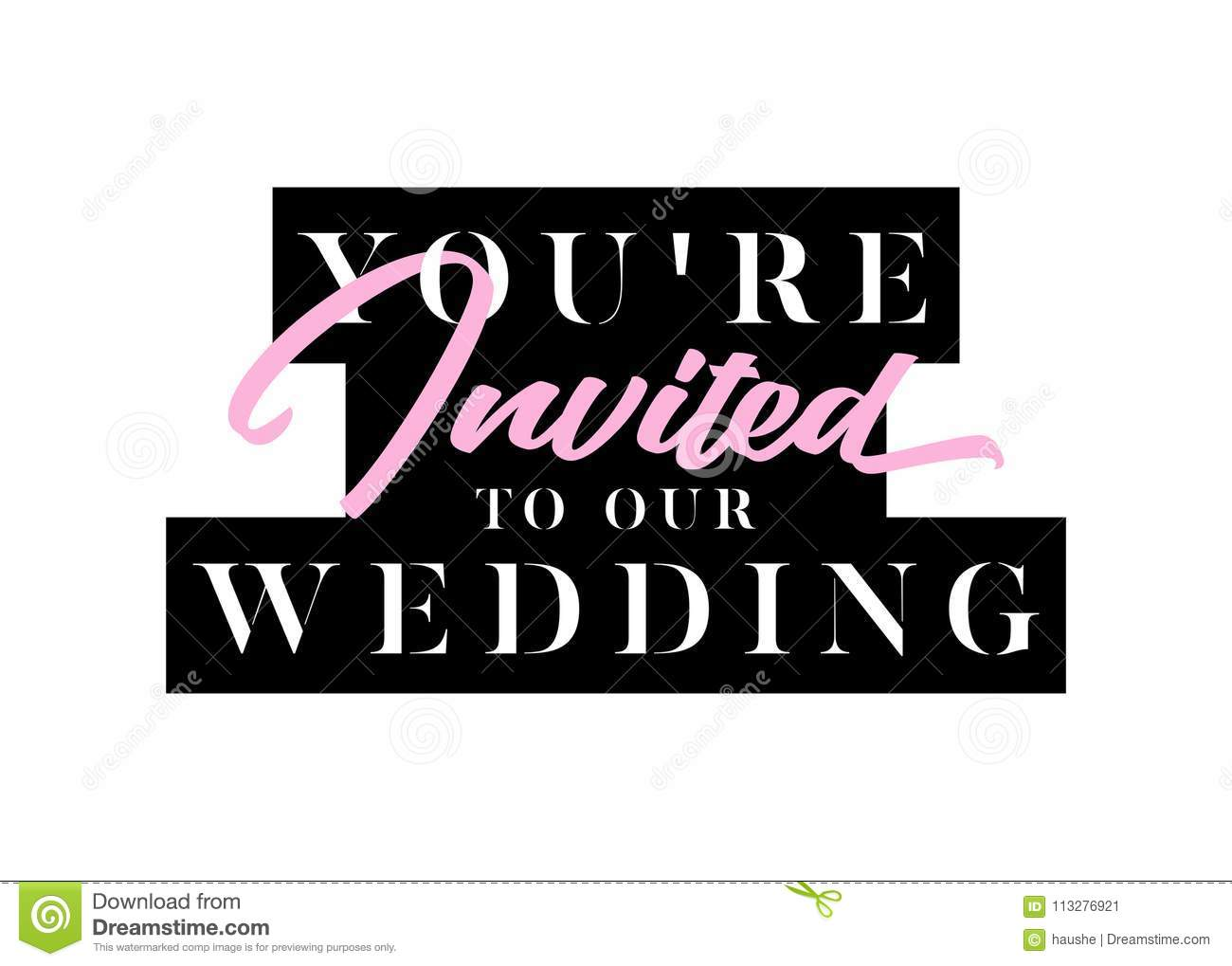 you are invited title for layout card wedding invitation stock