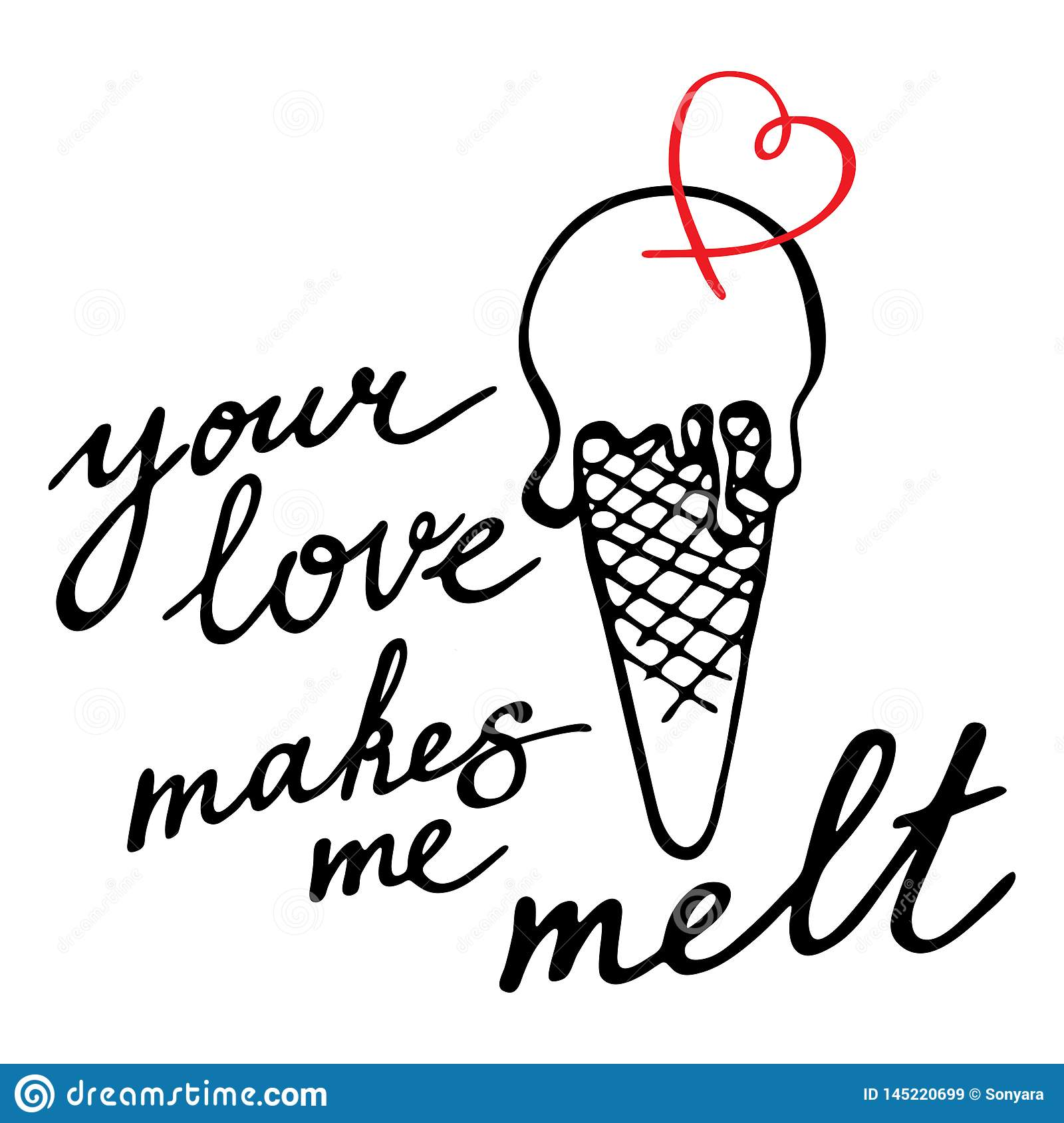 Download You Love Makes Me Melt. Hand Drawn Vector Caligraphy ...