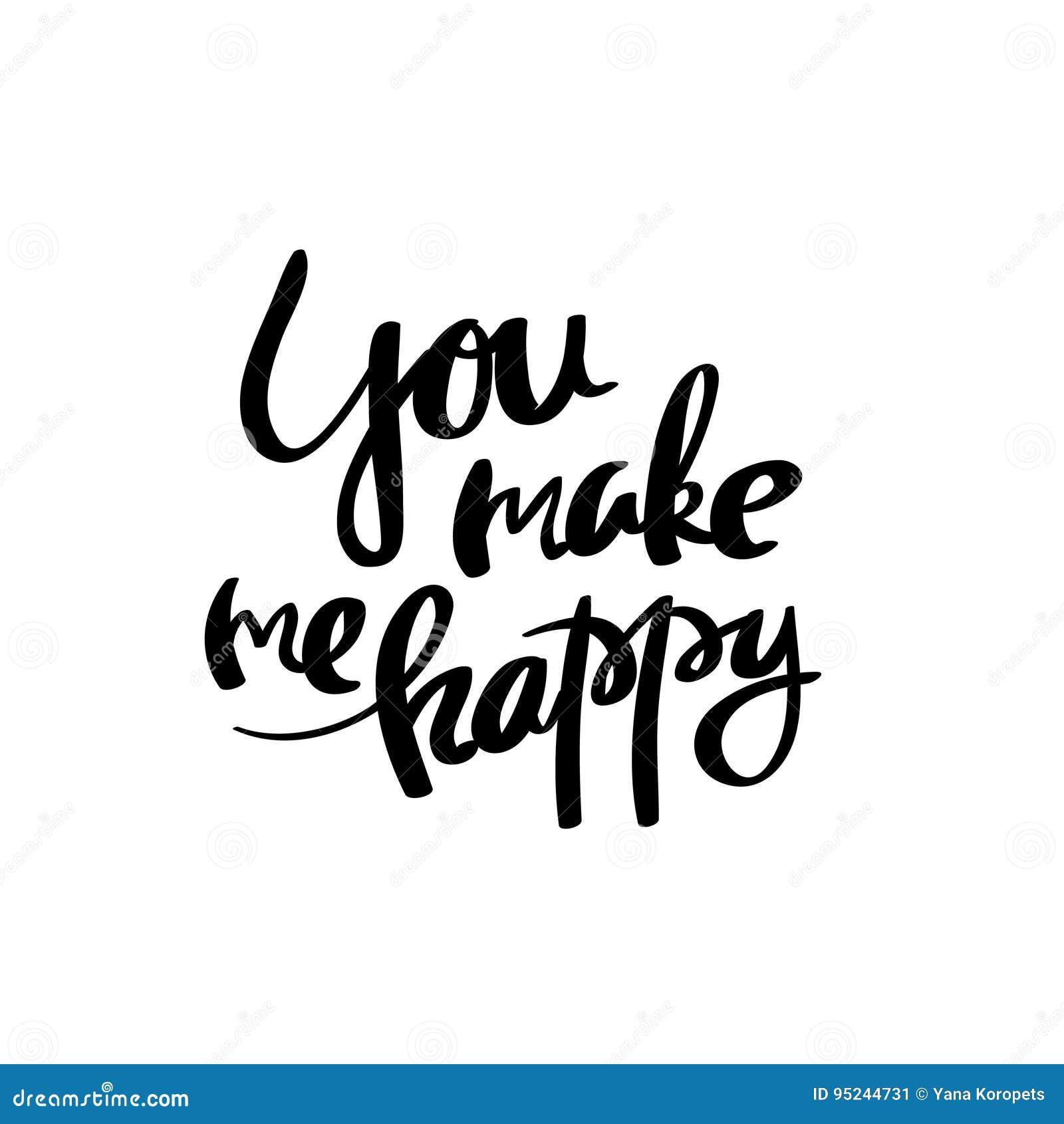 You Make Me Happy Calligraphy Postcard Poster Stock Illustration
