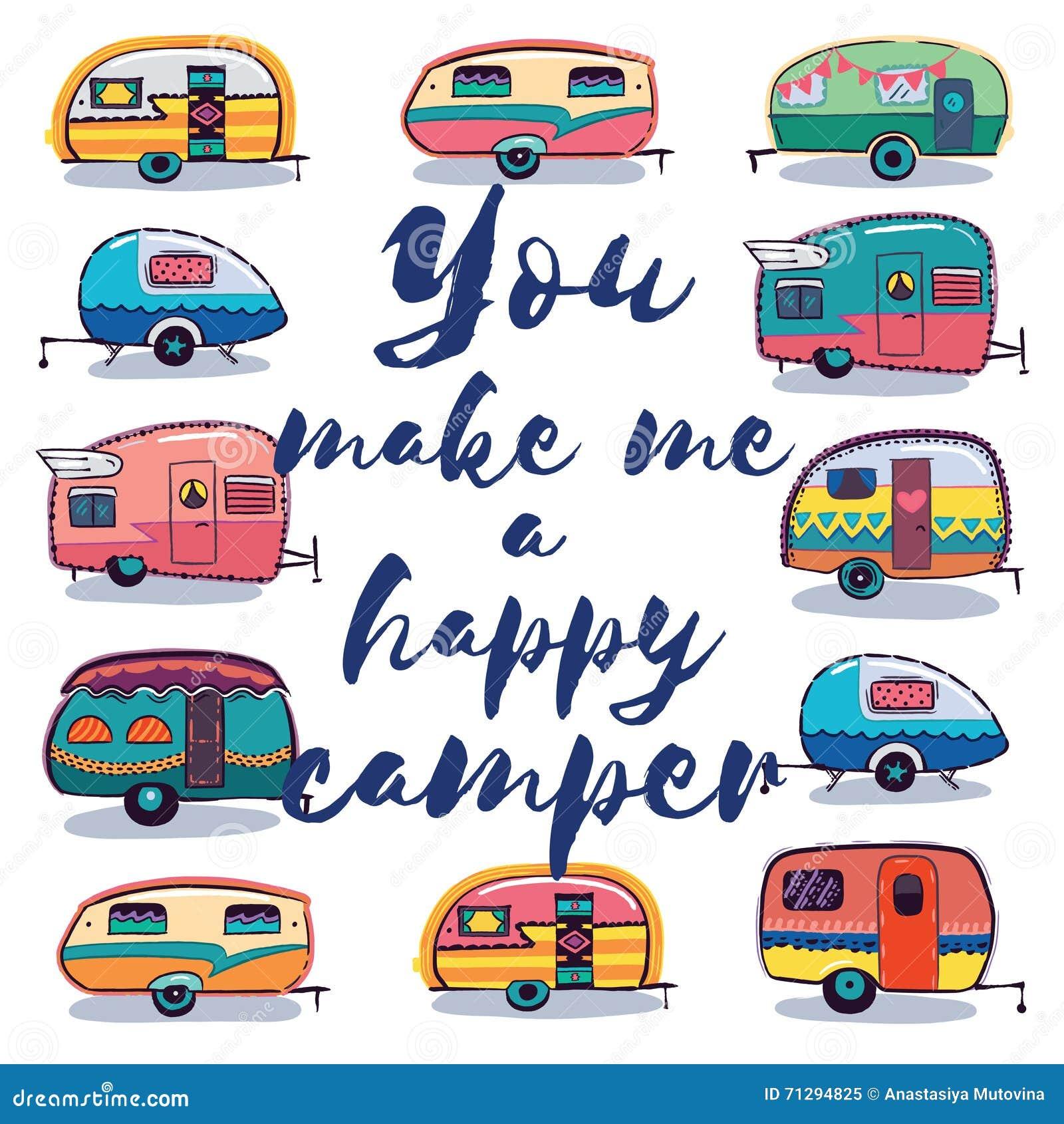 You Make Me A Happy Camper Card Retro Fun
