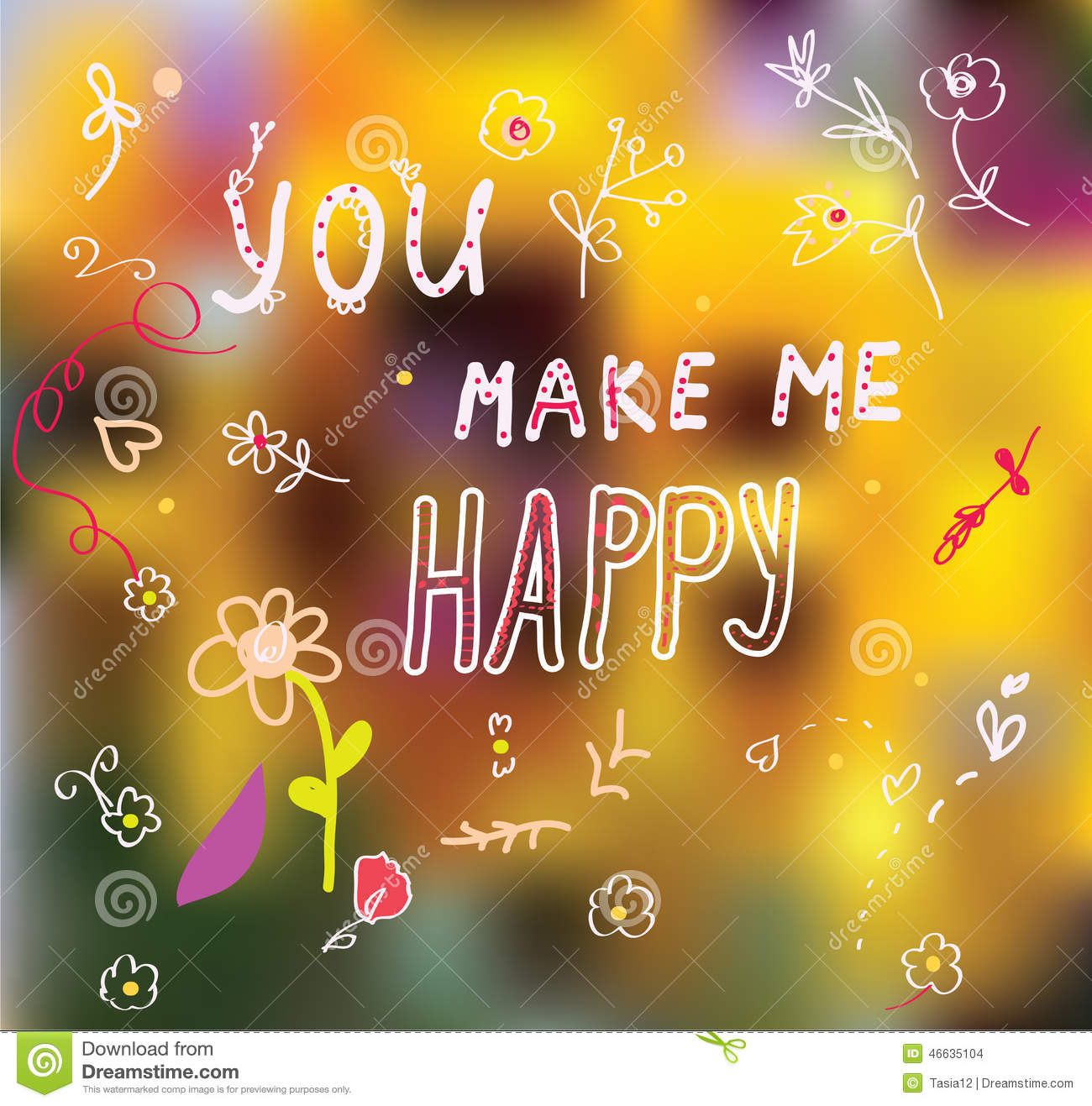 you make me happy cute card stock vector image 46635104. Black Bedroom Furniture Sets. Home Design Ideas