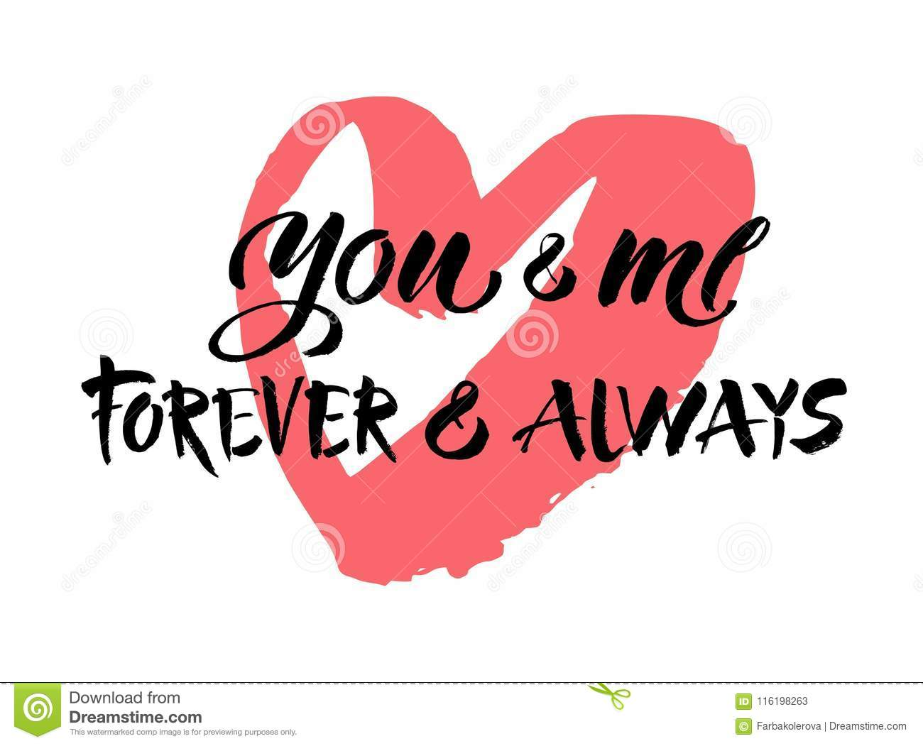 You And Me Always And Forever Black And White Hand Lettering Script ...
