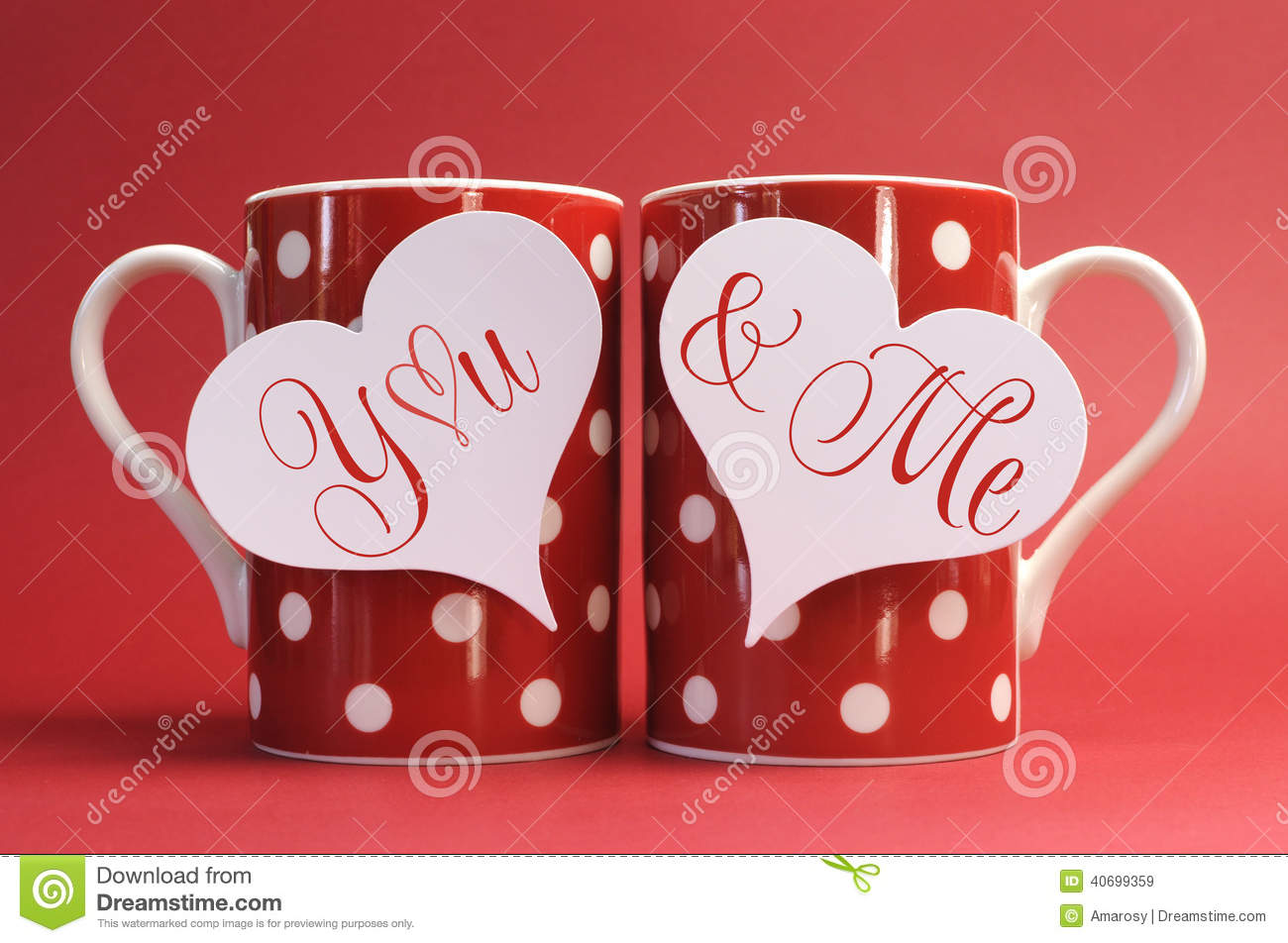 You and me love message greeting on heart gift tags on red polka royalty free stock photo negle Image collections