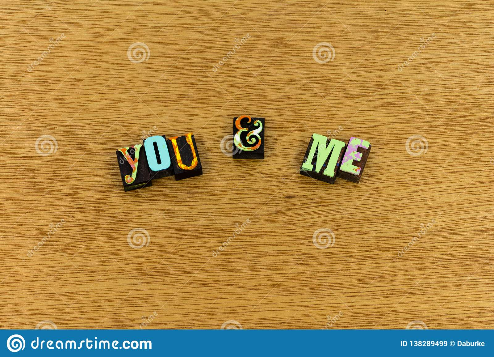 You Me Together Love Always Letterpress Stock Image - Image of sign