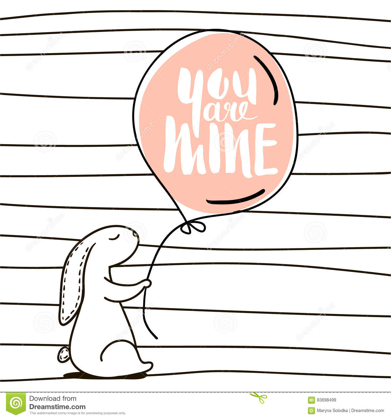You Are Mine Romantic Quote. Cute Hand Drawn Rabbit Keeps ...