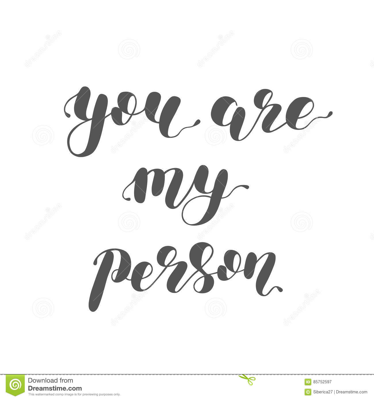 You Are My Person. Brush Lettering Illustration. Stock ...