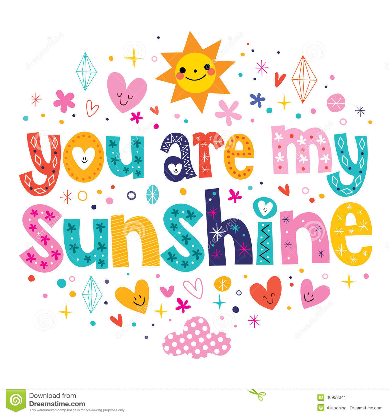 You Are My Sunshine Stock Vector Illustration Of Marriage 46958041