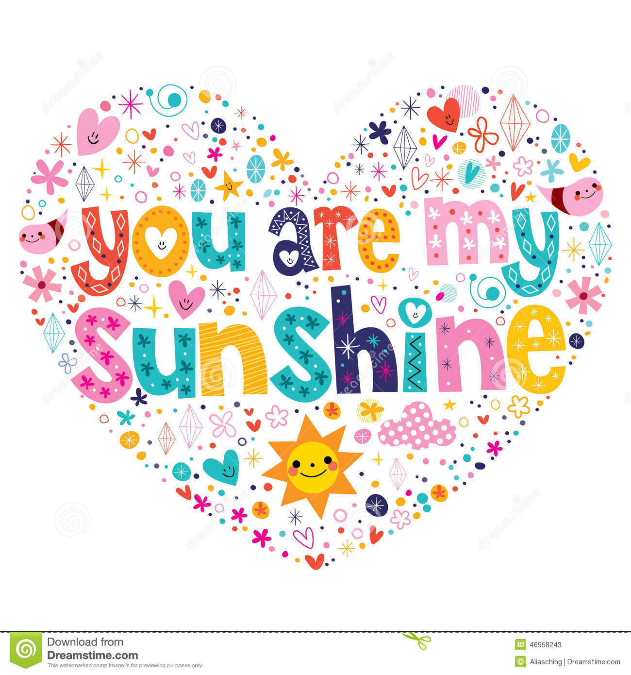 You Are My Sunshine Stock Vector Illustration Of Card 46958243