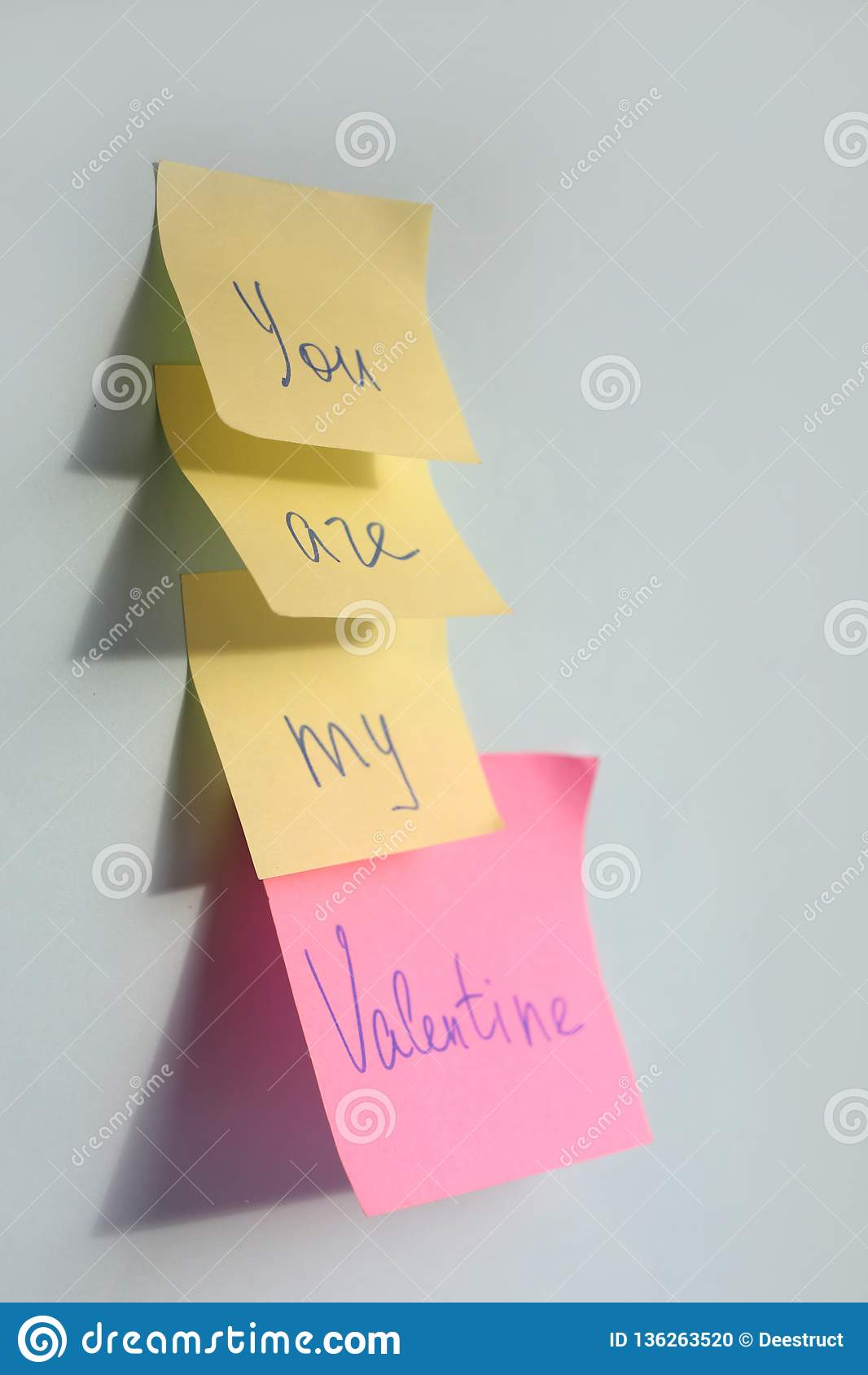 You are my valentine words on stickers on blue background, Valentines day greeting card