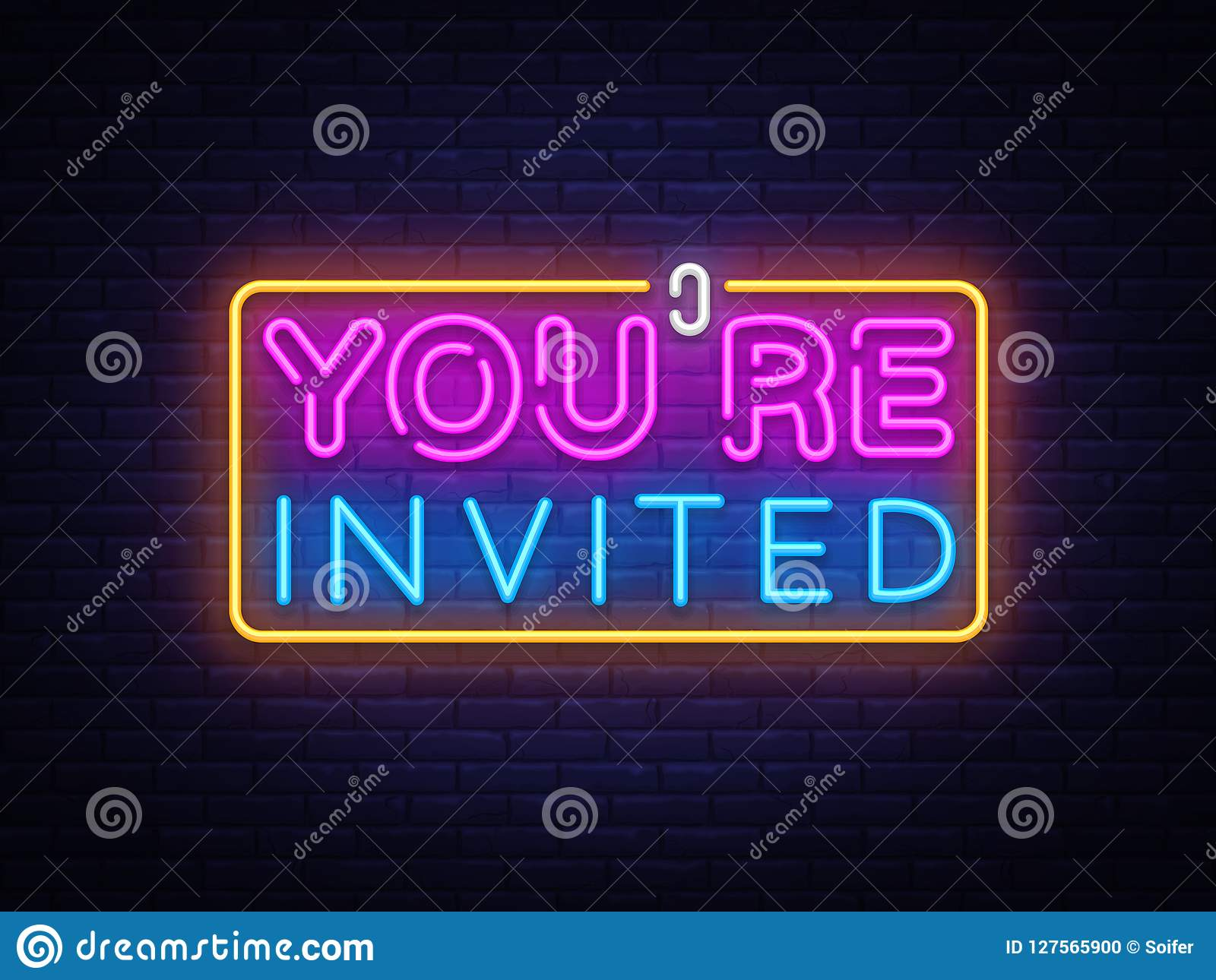 you re invited neon text vector design template neon logo light