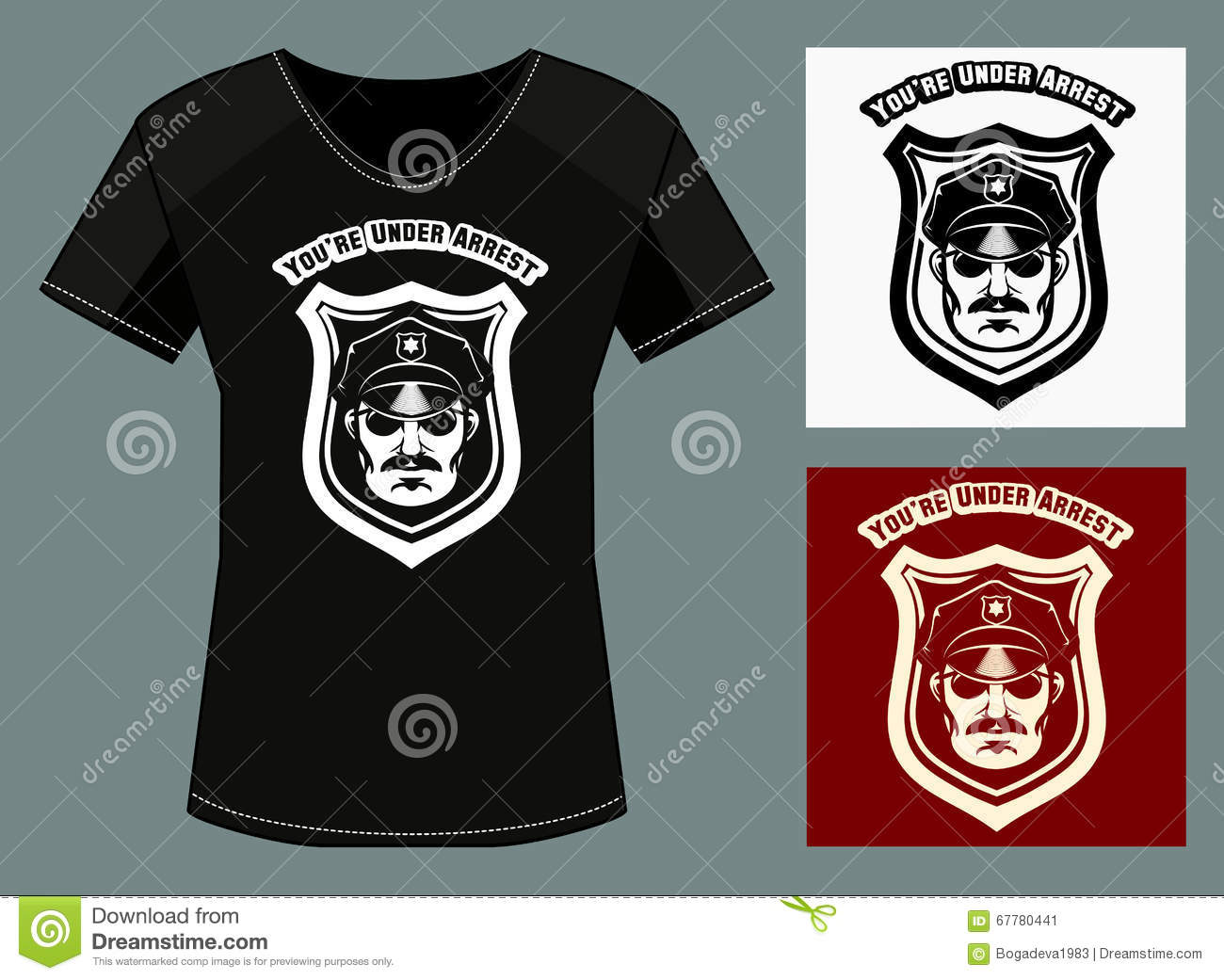 Youre Under Arrest Print Design Template Stock Vector - T shirt graphic design template
