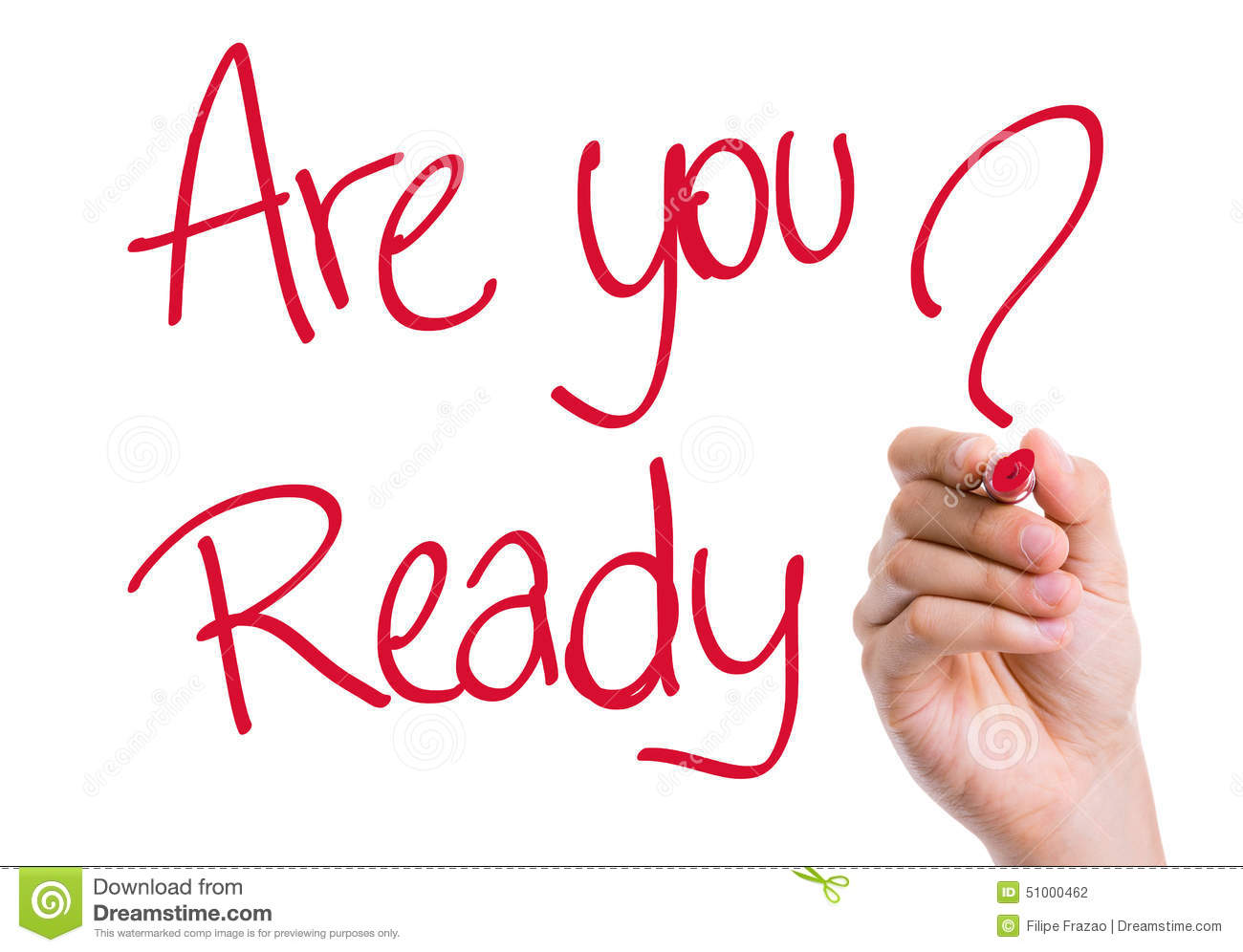 Kinder Garden: Are You Ready Written On The Wipe Board Stock Photo
