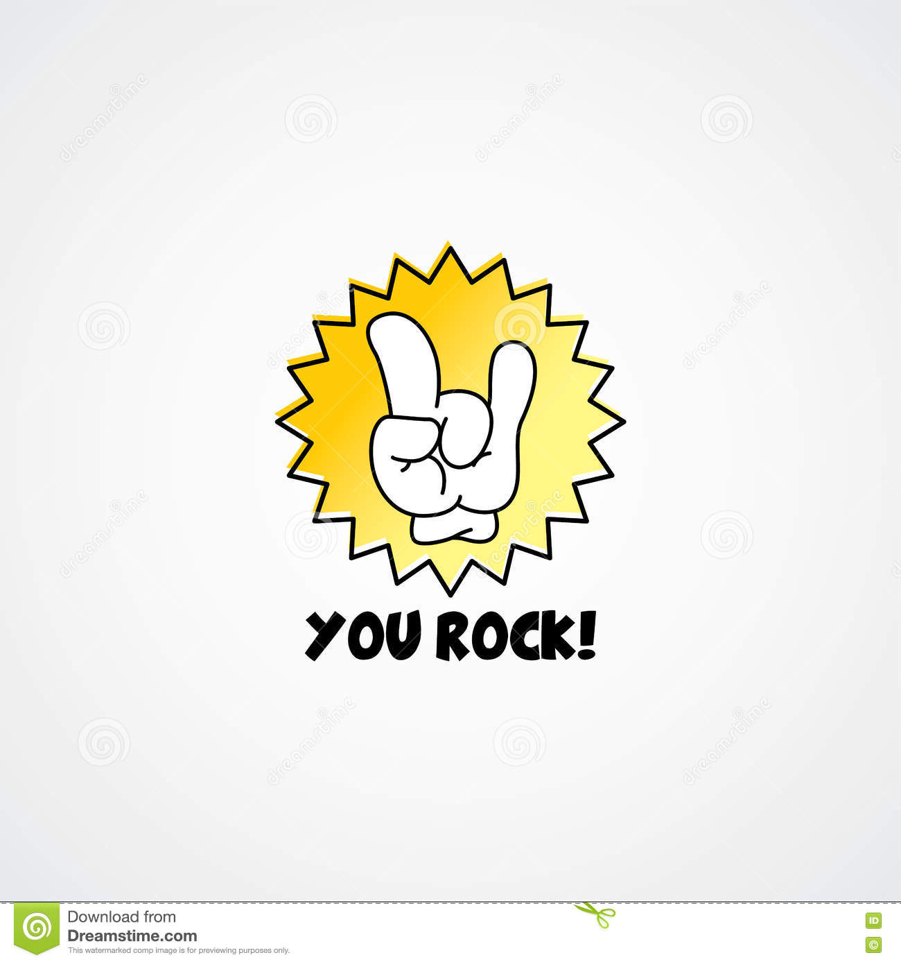 You Rock Cartoon Gesture Hand Sign Stock Vector Illustration Of