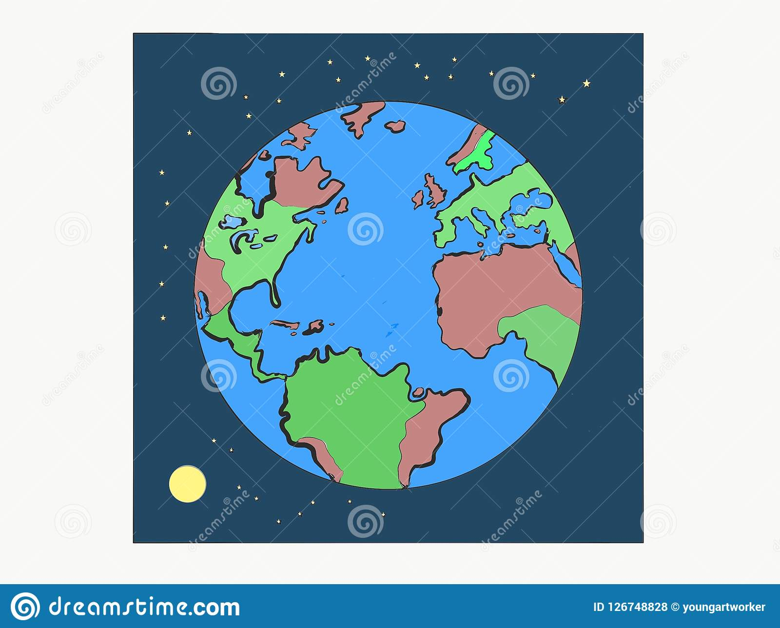 Still Life Image Of Round Planet Earth With Round Bright Moon And Shining Stars Art Photo Illustration Nature Abstract Object Stock Illustration Illustration Of Round Continents 126748828 The genre of parody documentaries is vastly underserved. https www dreamstime com you see round planet earth few brown green continents surrounding light blue oceans moon stars also present image126748828