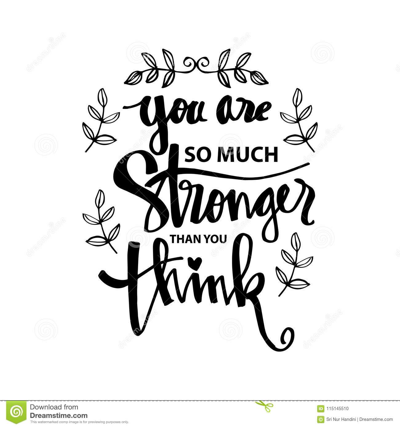 You Are Stronger Than You Think Stock Vector Illustration Of