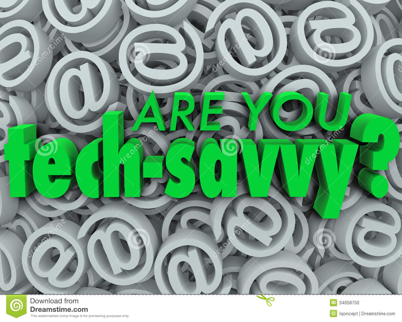 Are You Tech Savvy Email Symbol SIgn Background Stock