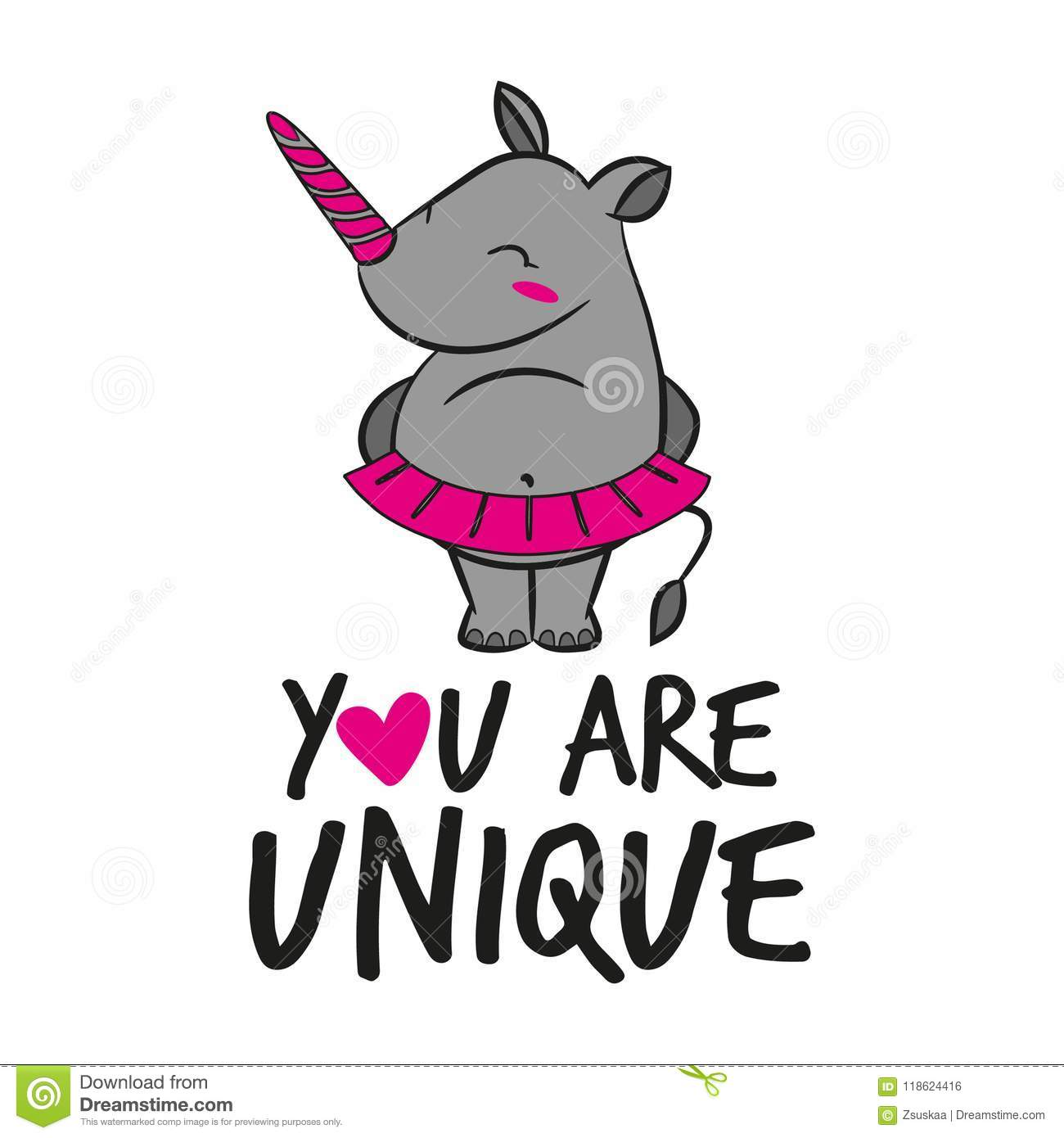You Are Unique Funny Vector Text Quotes And Rhino Drawing Stock