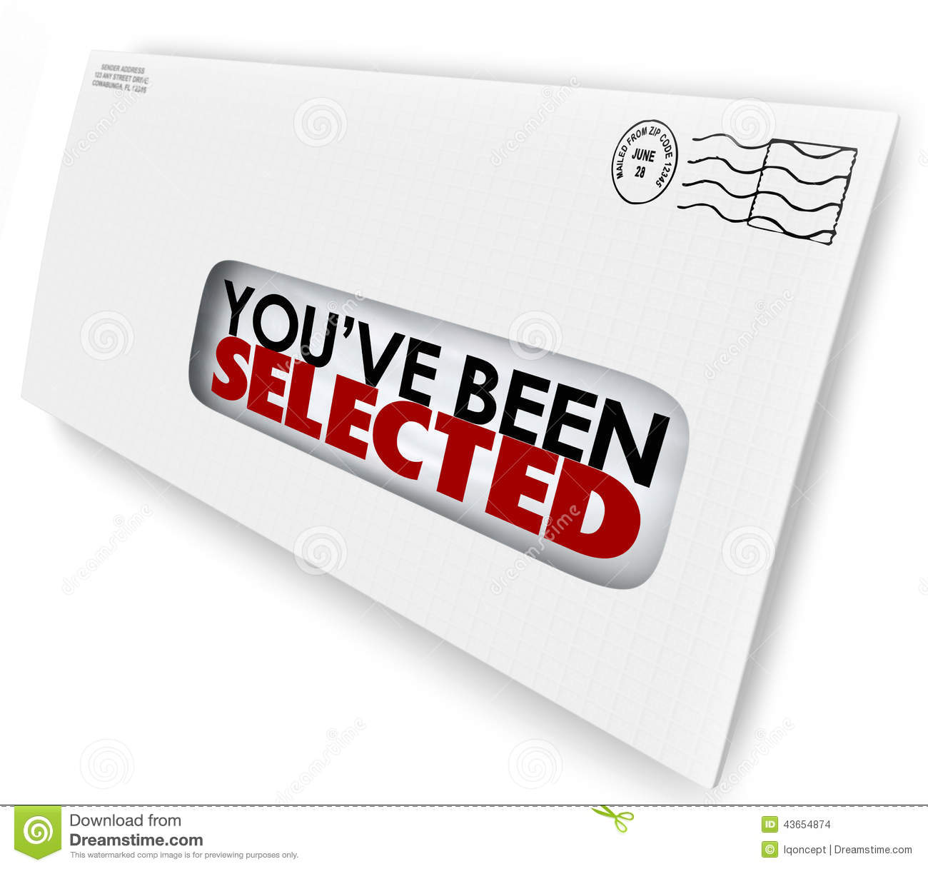 You Ve Been Selected Words Envelope Letter Official
