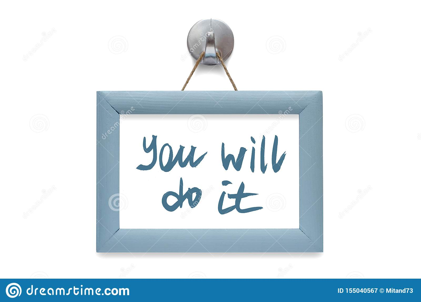 You will do it. Modern calligraphy. Motivational quote. Blue pho