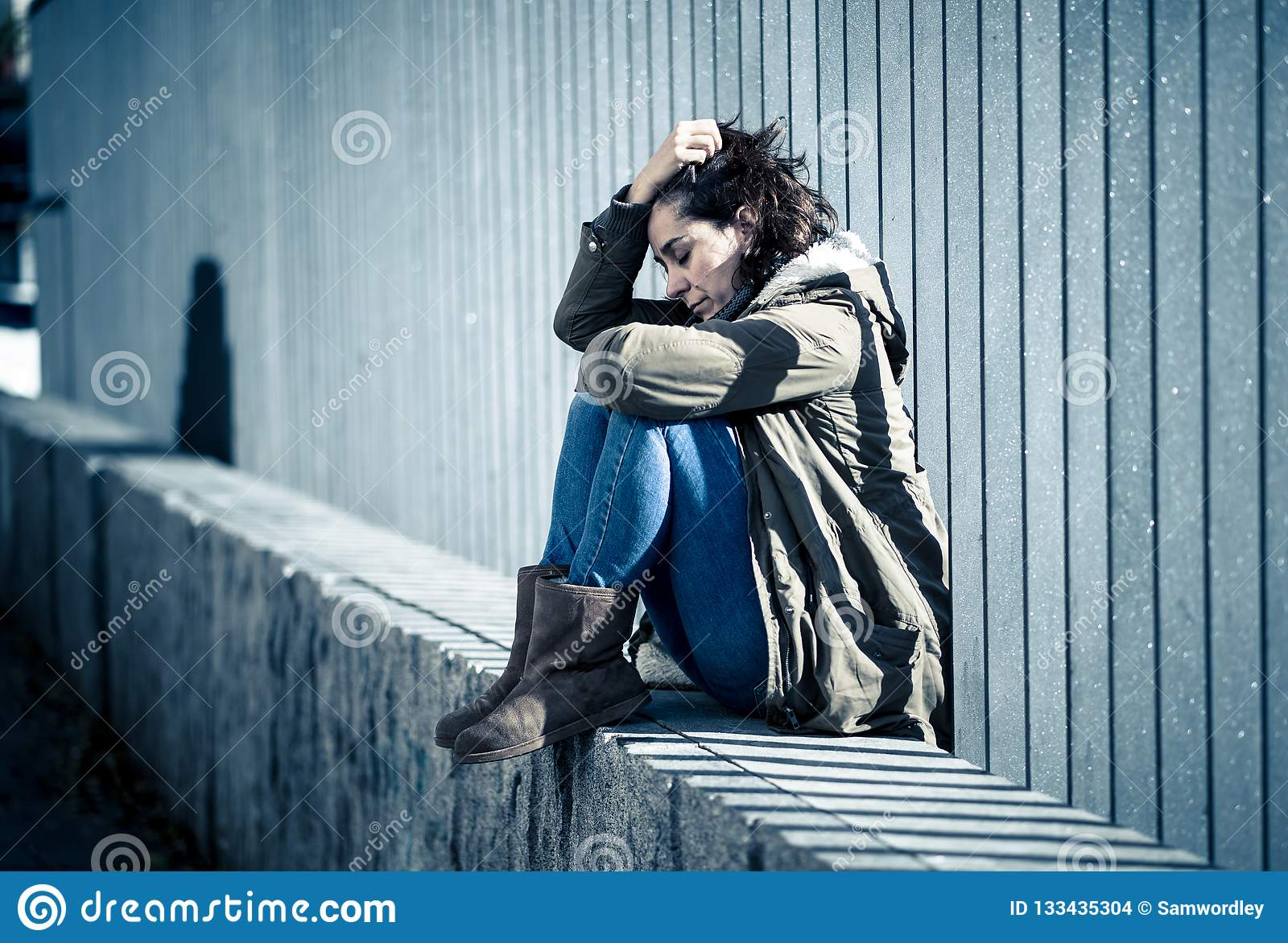 Young Attractive Woman Crying Suffering From Depression ...