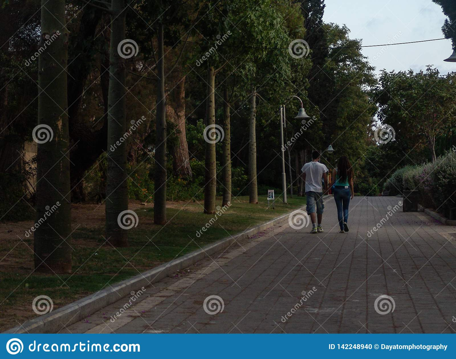 Young adult teen couple walking away from camera on green park paved alley at sunset with trees lined up, shot in Holon, Israel