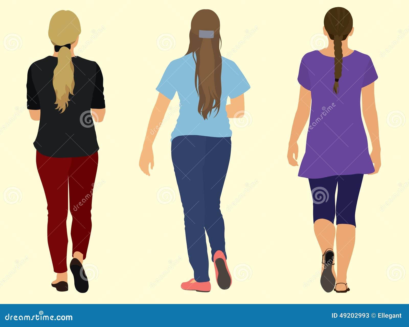 Young Adult Women Walking Stock Vector Image 49202993
