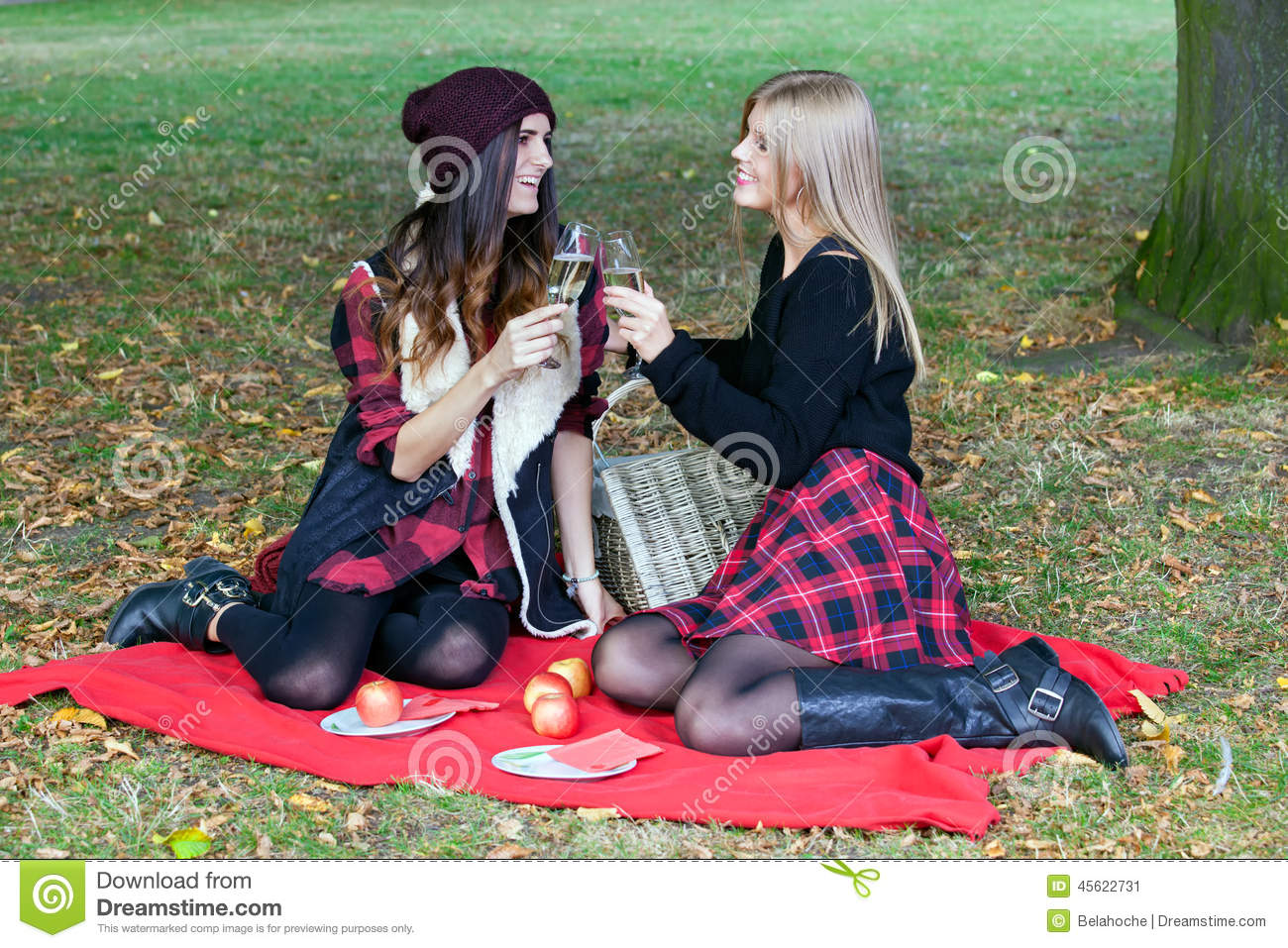 Two Preteen Girls Having A Picnic In A Grassy Field Stock Photo ...