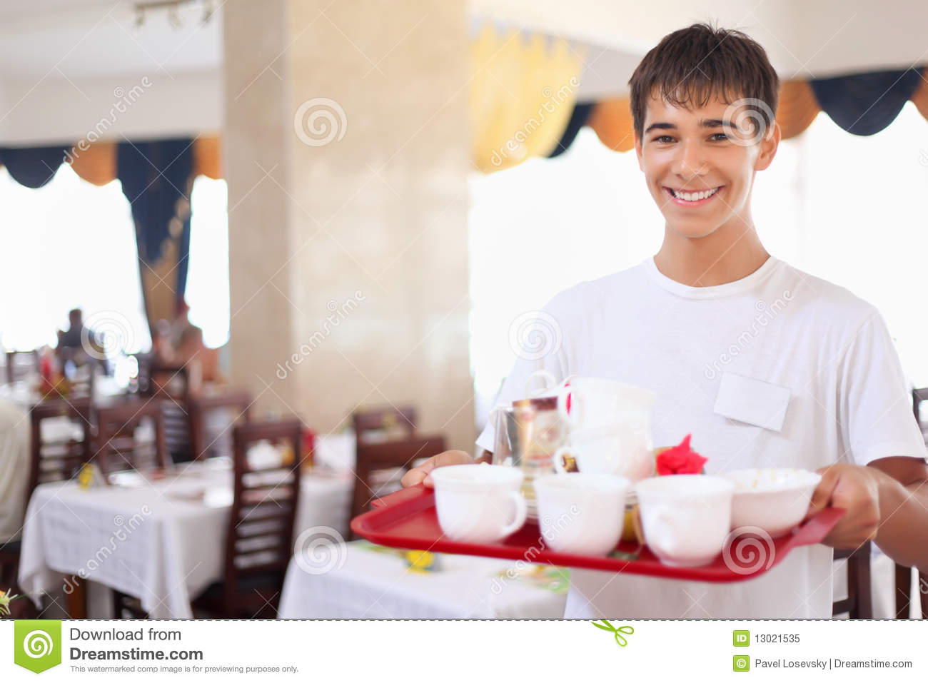 Download Young Affable Waiter Keeps Tray At Restauran Stock Image - Image of affable, delivering: 13021535