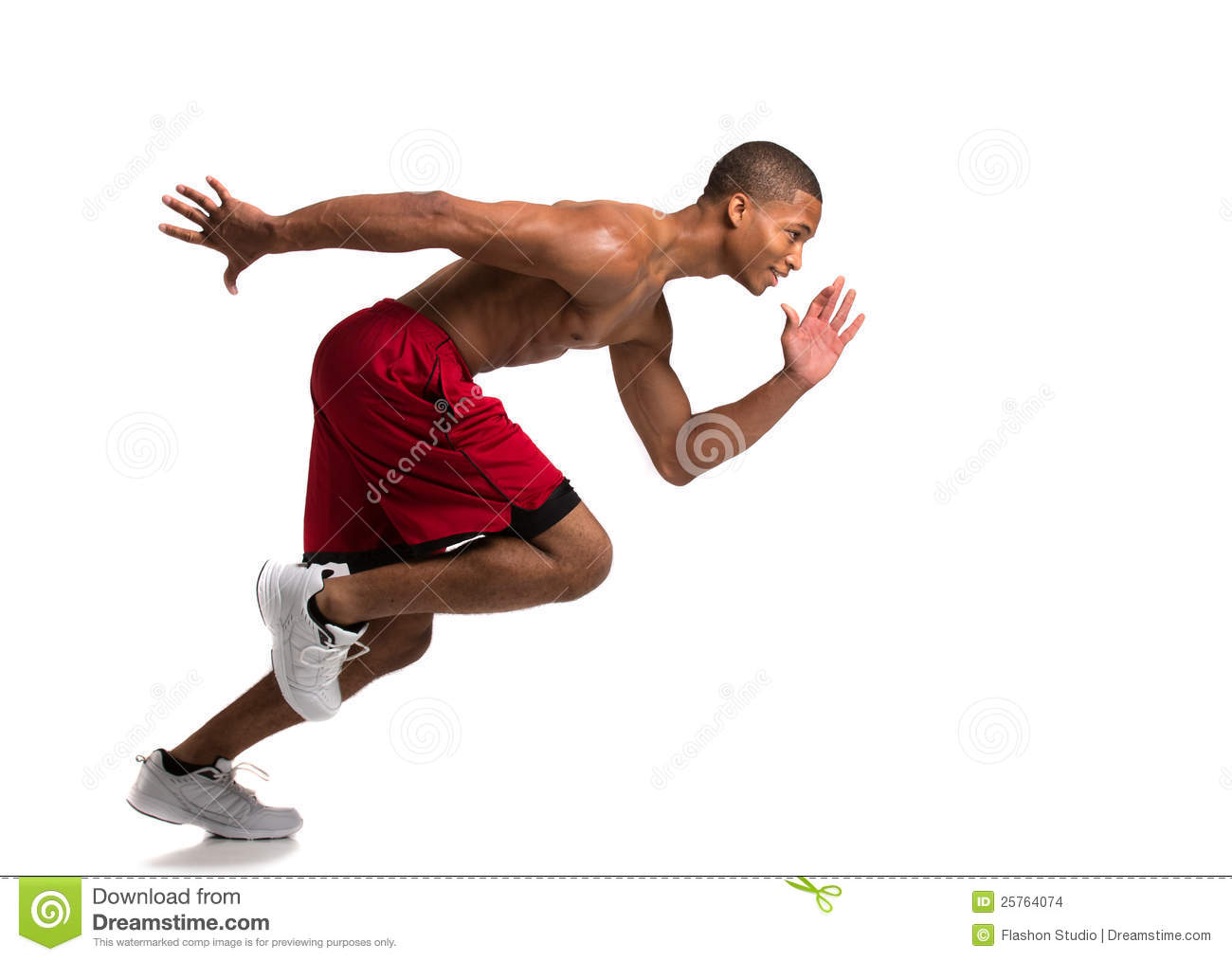 Young African American Athlete Sprinting Isolated Stock ...