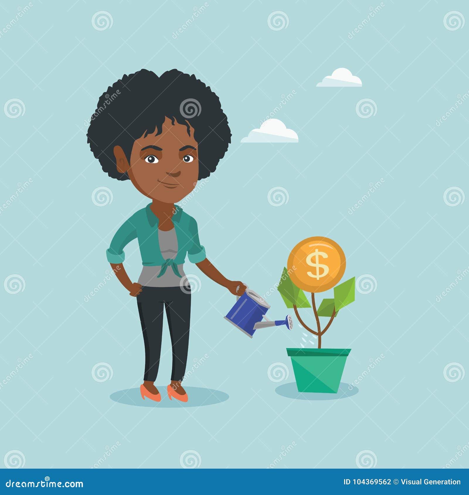 African business woman watering money flower stock vector african business woman watering money flower biocorpaavc Gallery