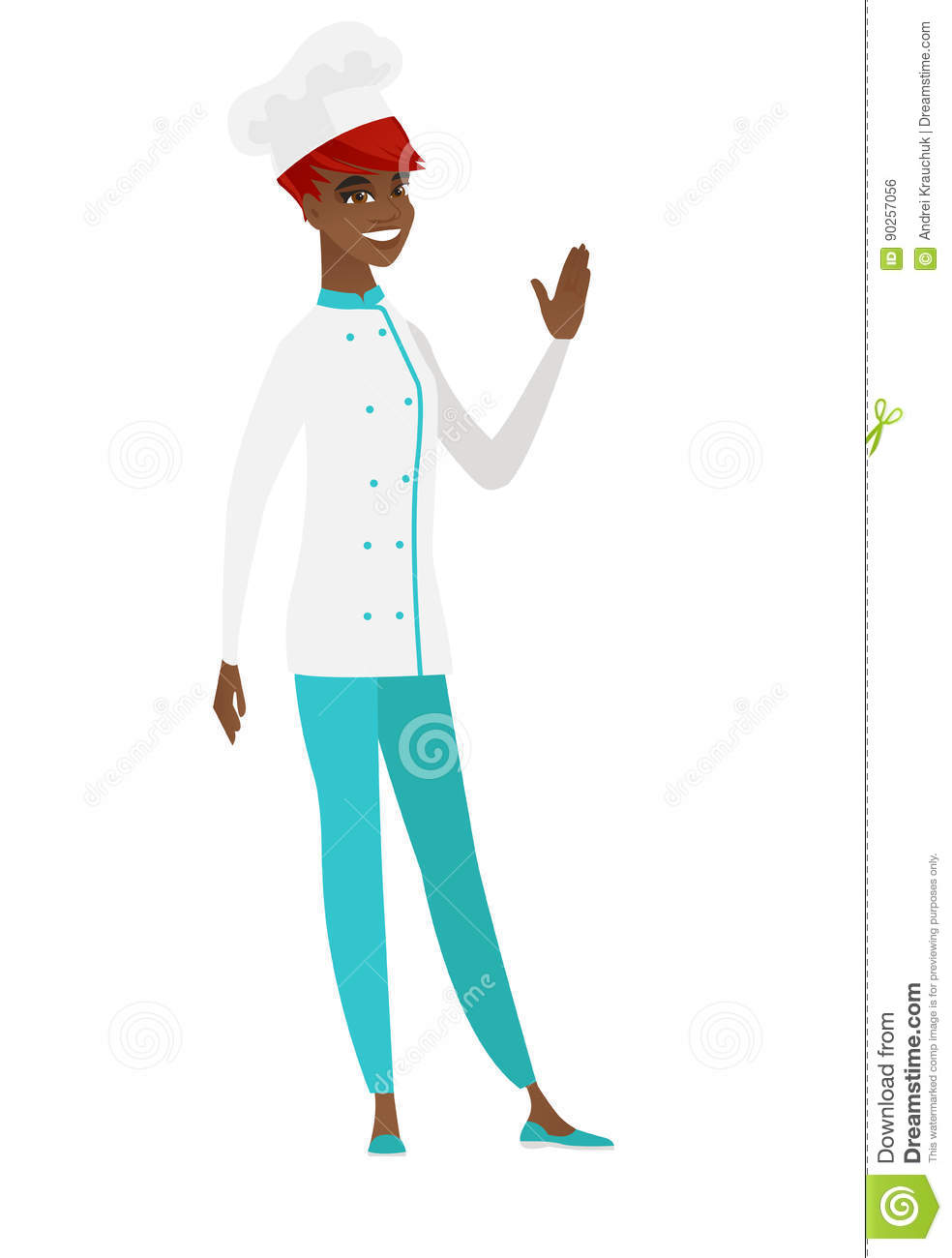Young African American Chef Cook Waving Her Hand Stock Vector