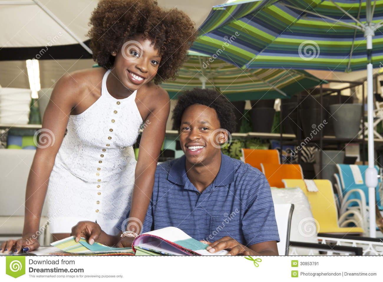 Young African American Couple Buying Outdoor Furniture At Store Stock Image Image 30853791