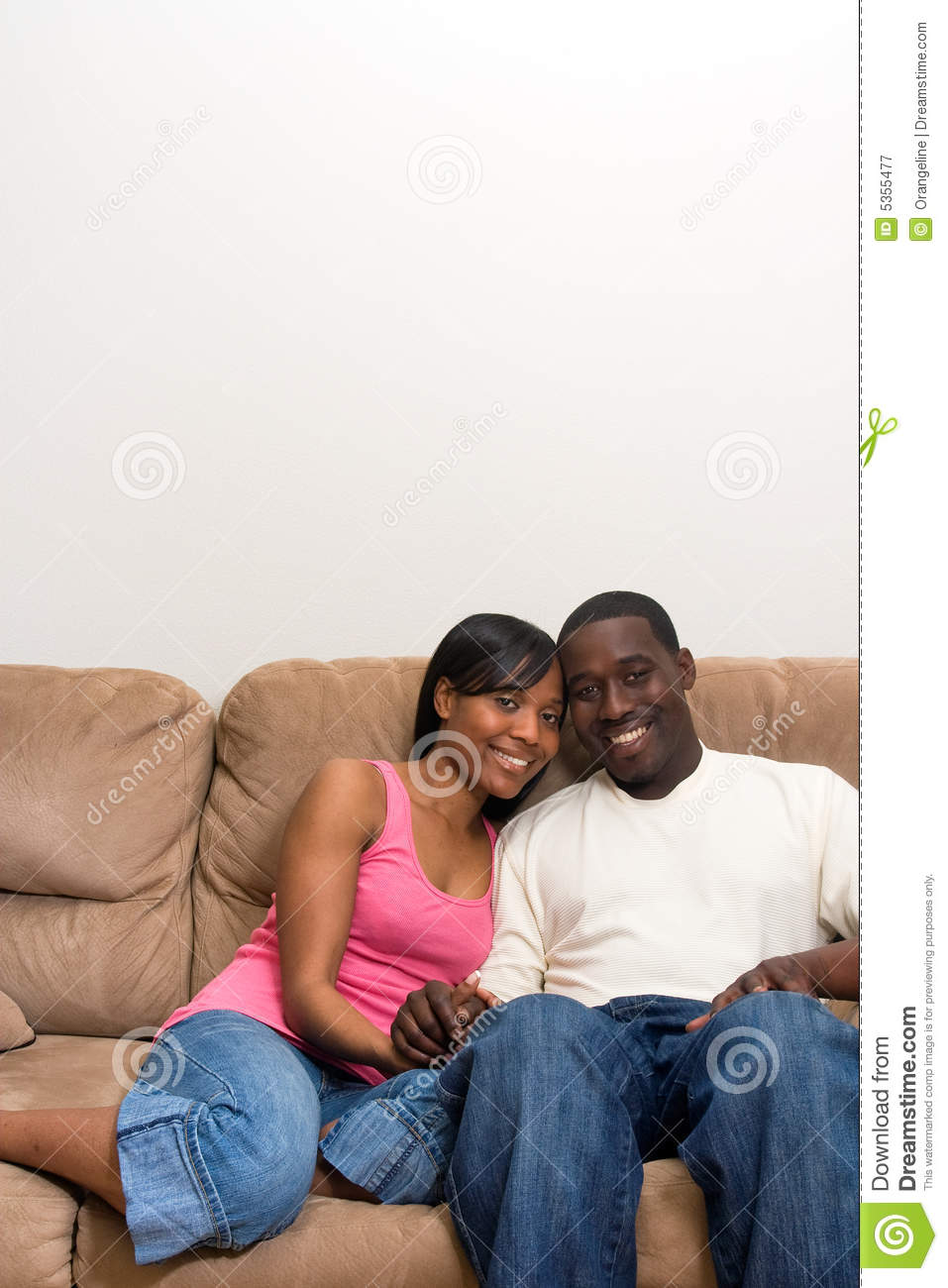 African American Living Room Apartment Decor: Young African American Couple In Their Living Room Stock