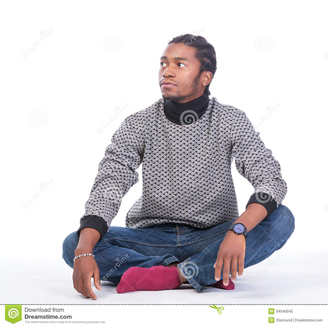 young african american male sitting on the ground stock image image 34540045. Black Bedroom Furniture Sets. Home Design Ideas