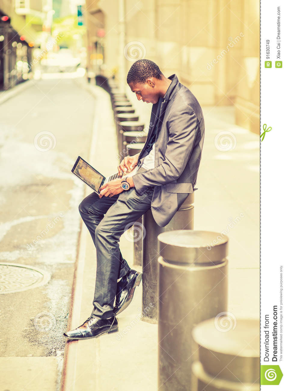 Download Young African American Man Working On Laptop Computer On Vintage Stock Image - Image of convenient, lifestyle: 91630749