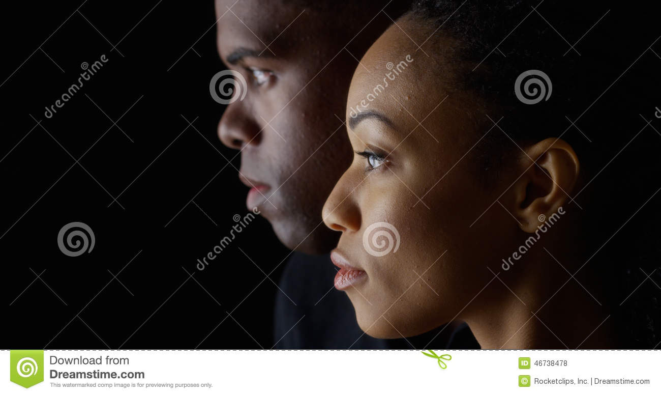 Young African American People On Black Background Stock