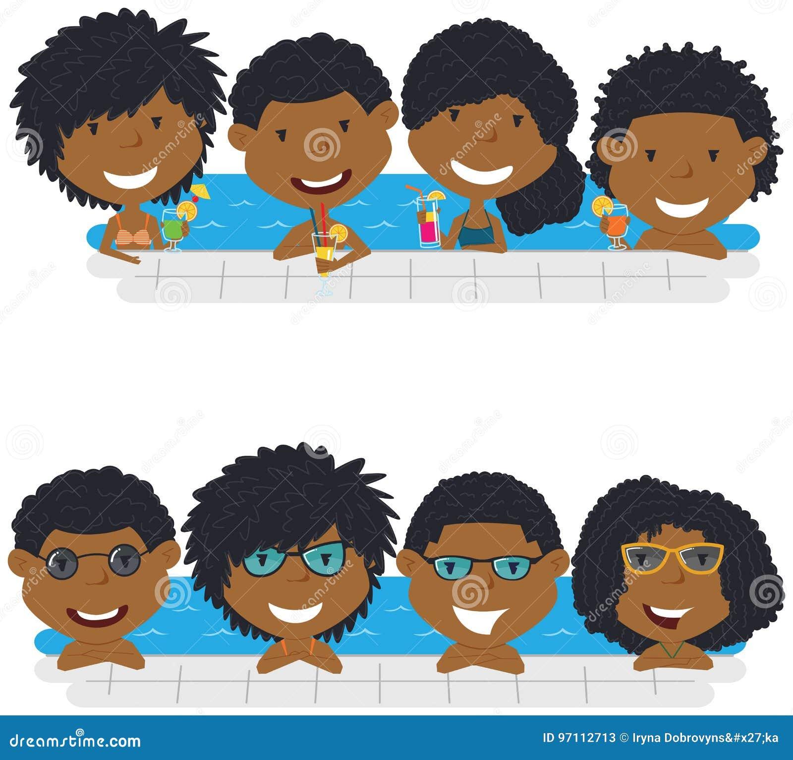 Young African American teens having fun in outdoor swimming pool