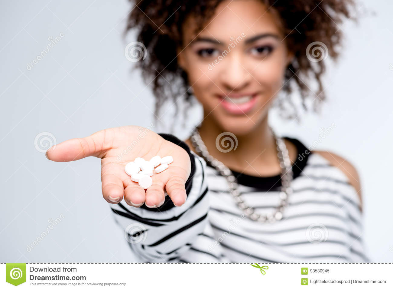Download Young African American Woman Giving Drugs Stock Image - Image of girl, pills: 93530945