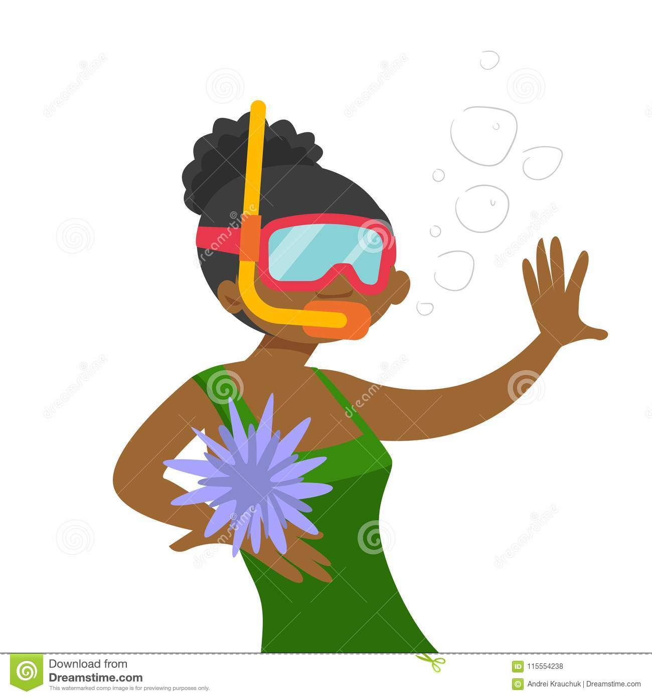 Young African American Woman Swimming Underwater