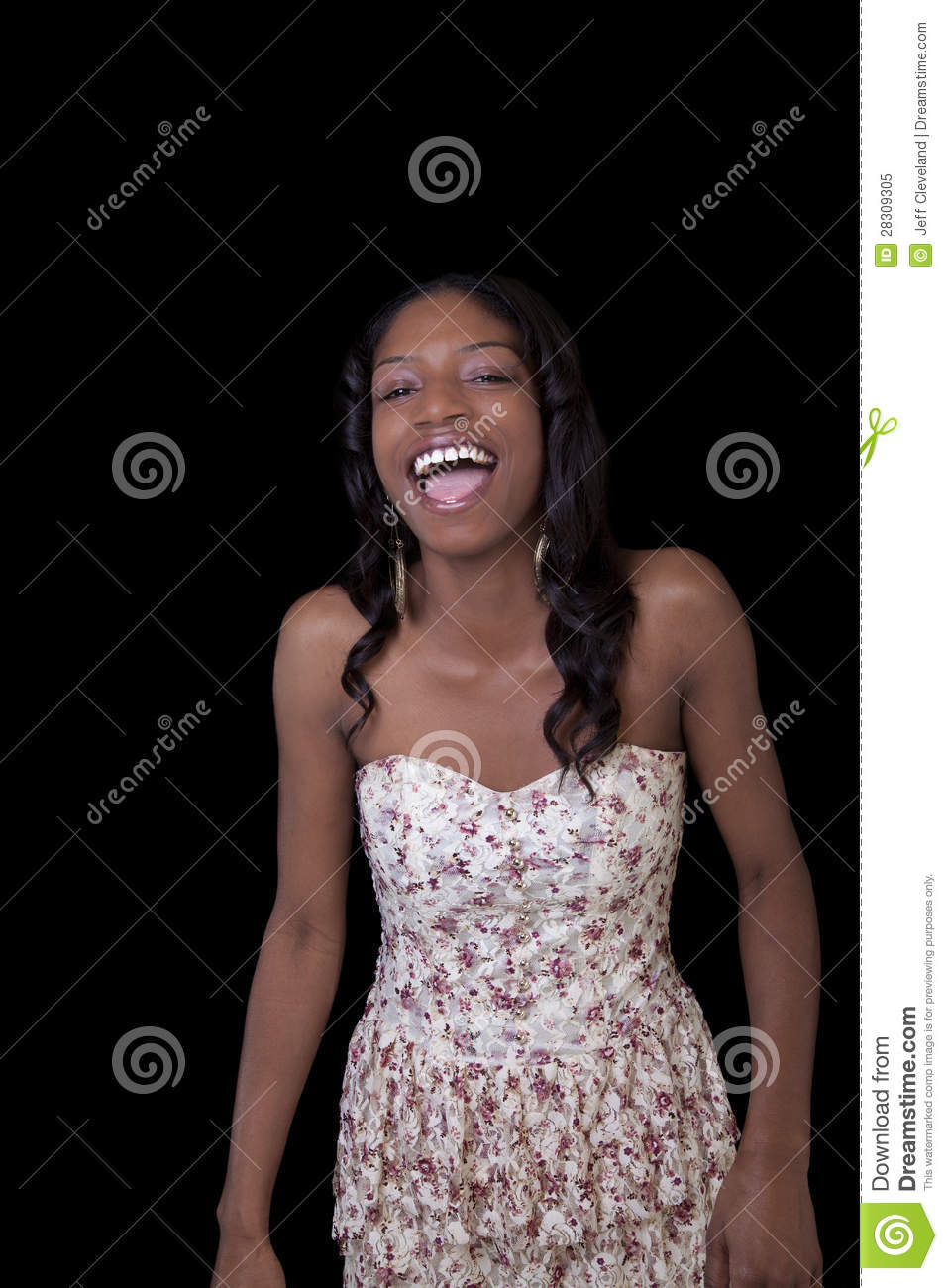 Young African American Woman Open Mouth Laugh Royalty Free