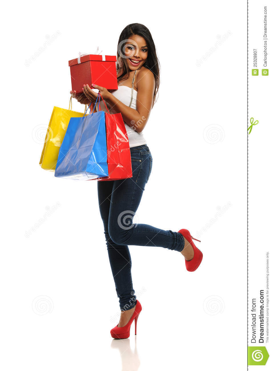 young woman on a shopping spree stock image male models