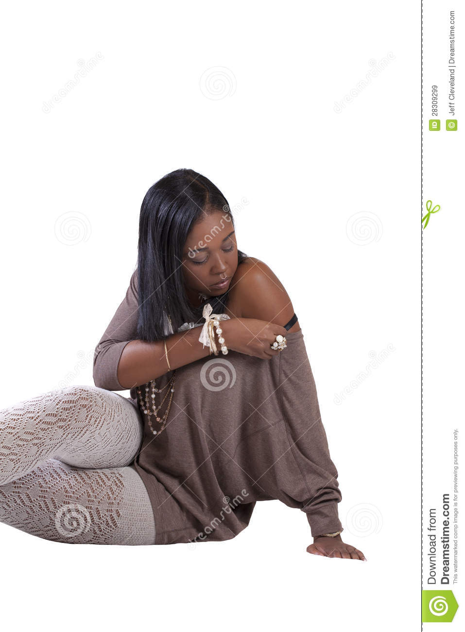3a21b2fb451 Young African American Woman Textured Stockings Sitting Stock Image ...