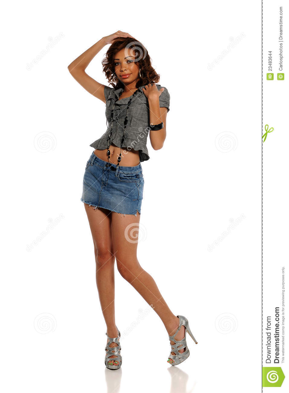 2d7f9e6ba Young African American Woman Wearing A Mini Skirt Stock Photo ...