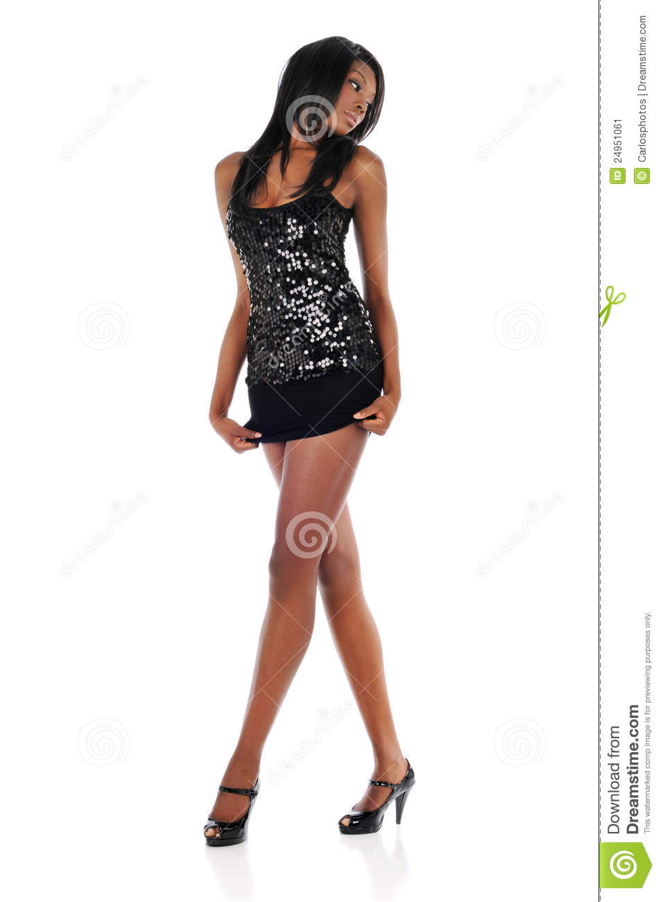 Young African American Woman Wearing A Short Dress Stock