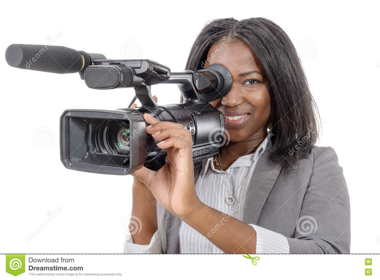 Young African American Women With Professional Video Camera Stock ... 8c52ea73f8